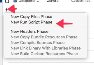 New Run Script Phase