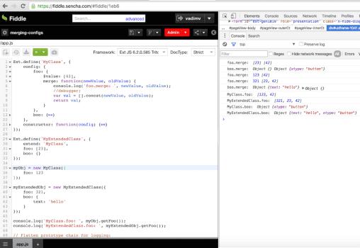 Sencha Ext.Config Features Ext JS 6, Fiddle 4