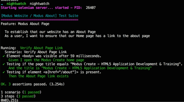 Writing E2E Tests with Nightwatch-Cucumber - Code Example 2