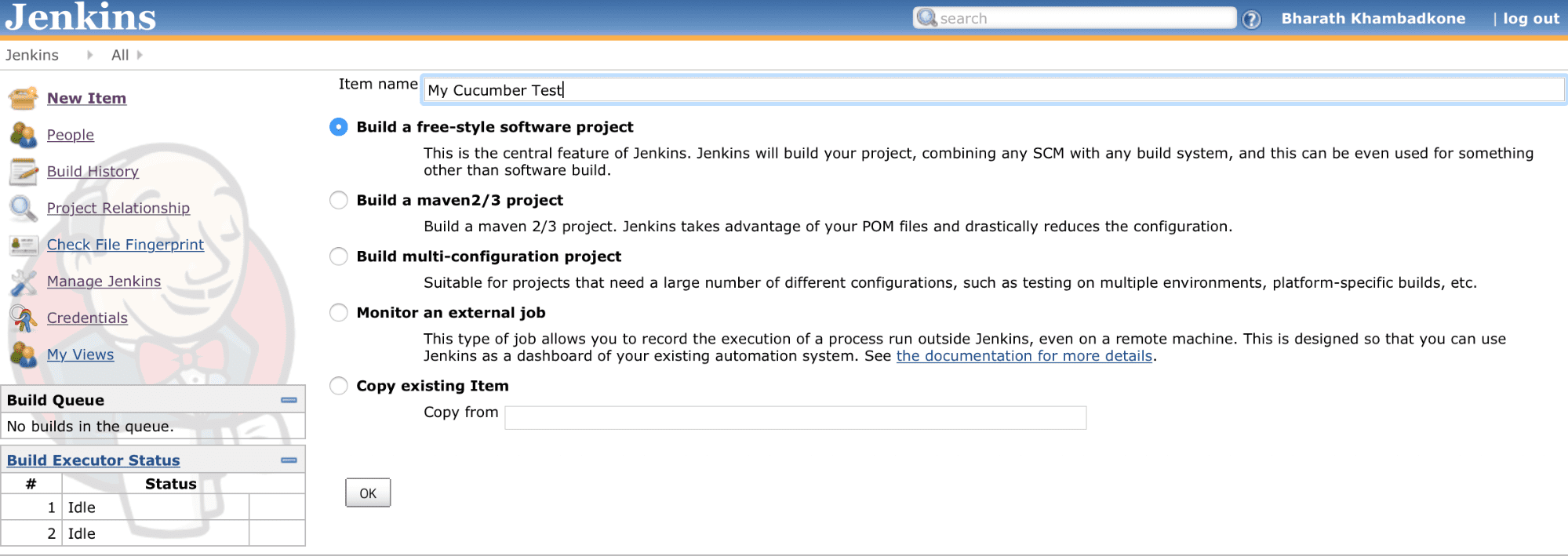 Create a new freestyle project and configure the Job
