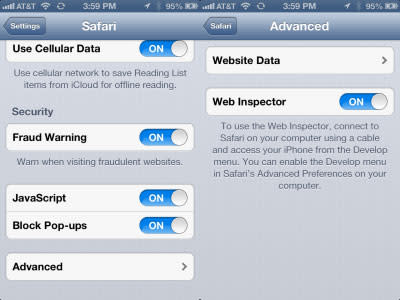 Web Inspector in Safari Settings