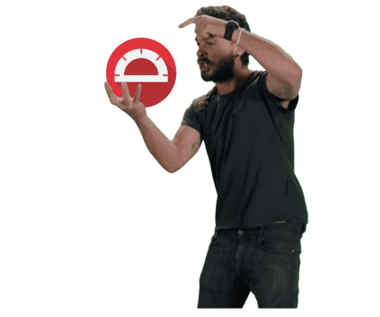 Photo of Agitated Man pointing at Protractor Logo