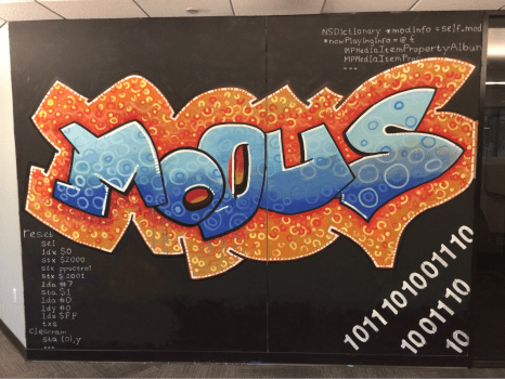 Evade announcement, our first Arduboy game: graffiti mural at Modus Create Headquarters