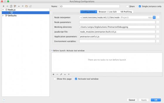 Edit the fields of the Run/Debug Run Configuration