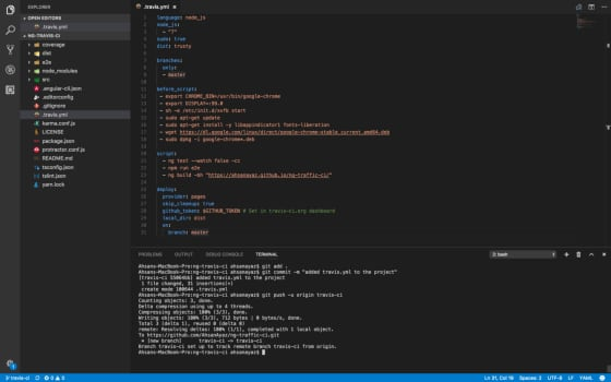 Continuous Integration for Angular Projects with TravisCI - deploy only on master 1