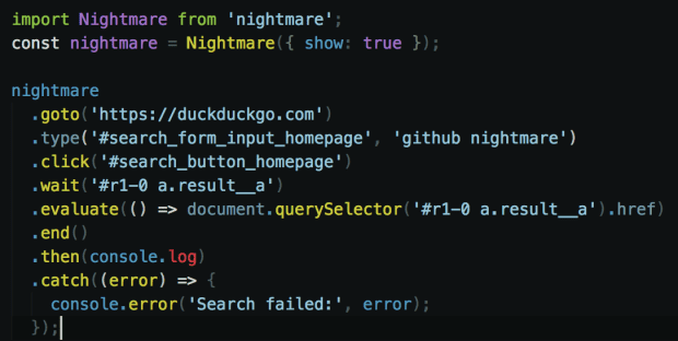 Writing Tests with CodeceptJS Nightmare, Example
