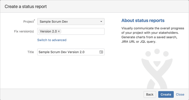 Ship It: Release Management in Jira and Confluence, Create Report Dialog