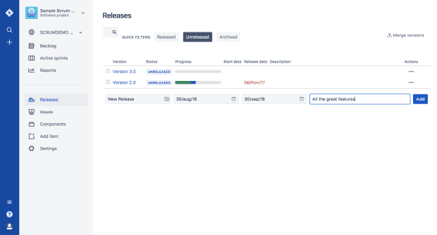 Ship It: Release Management in Jira and Confluence, Releases