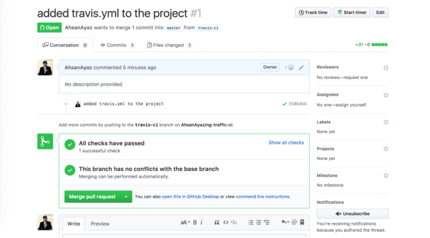 Continuous Integration for Angular Projects with TravisCI -updated the status on the PR's page