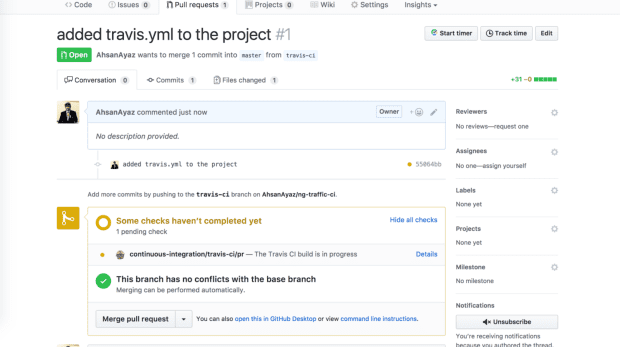 Continuous Integration for Angular Projects with TravisCI - TravisCI build is triggered for this PR