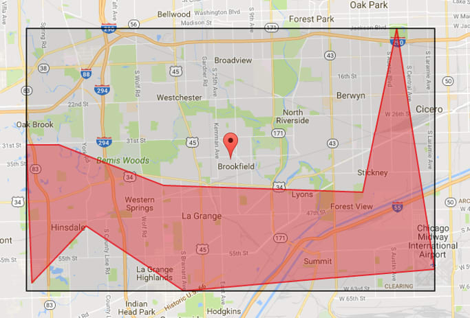 Placing Markers Inside Google Maps Polygons: bounding box