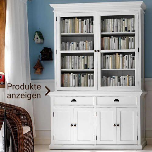 weißer Bücherschrank mit Vitrine und Schubladen