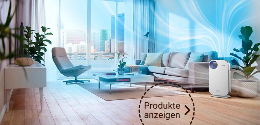 weißer Luftreiniger in Wohnzimmer