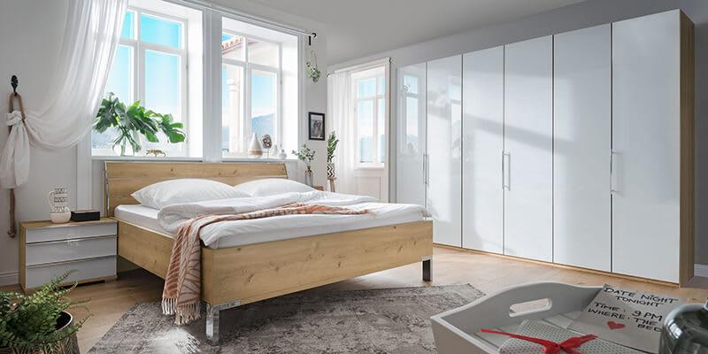 Schlafzimmerset Waluva in Weiß Eiche Bianco 300 cm breiter Schrank (pharao24.de)