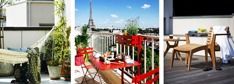 Verschiedene Möbel für kleine Balkone