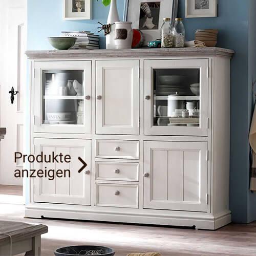 Weißes Sideboard für Geschirr