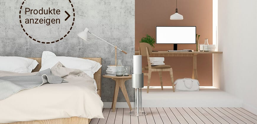 Silberner Luftreiniger im Schlaf- & Arbeitszimmer