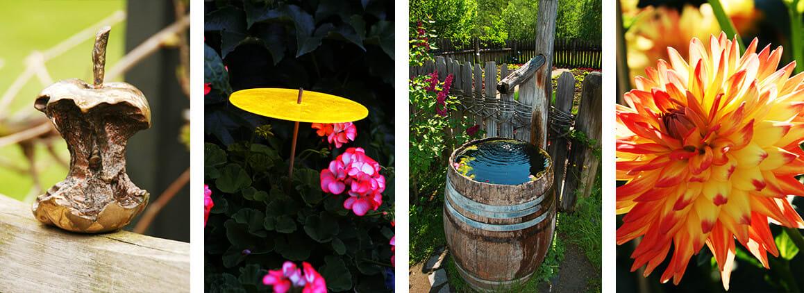 Bronzefiguren, Regenfässer und farbenfrohe Blumen