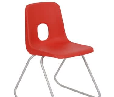 Series E Skid Base Plastic Chair, by Hille
