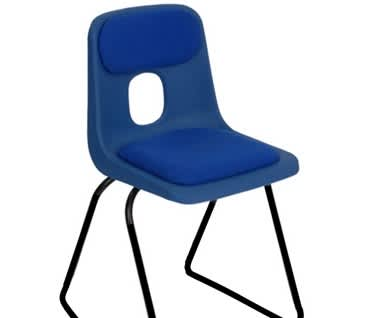 Series E Skid Base Padded Stacking Chair by Hille