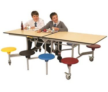8 Seat Rectangular Mobile Folding Table Seating Unit