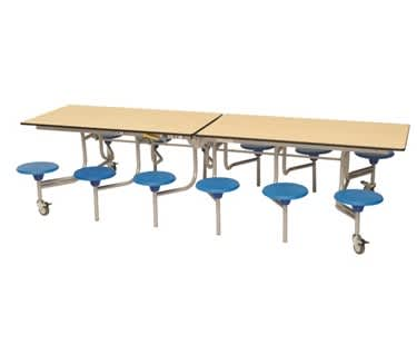12 Seat Rectangular Mobile Folding Table Seating Unit