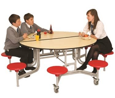 8 Seat Round Mobile Folding Table Seating Unit
