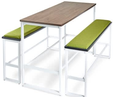 Otto High Poseur Bench with upholstered seat pad