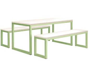 Vita Table & Bench Set | Soft Lime