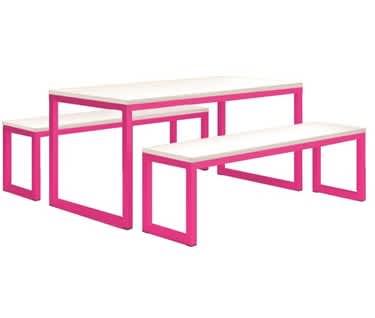 Vita Table & Bench Set, Telemagenta