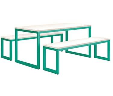 Vita Table & Bench Set, Turquoise
