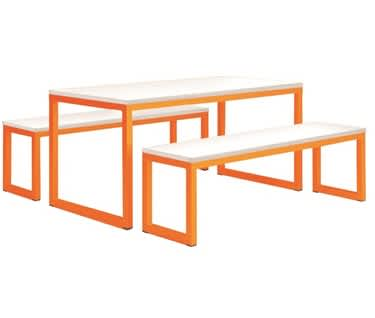 Vita Table & Bench Set | Pastel Orange