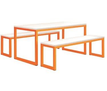Vita Table & Bench Set, Pastel Orange