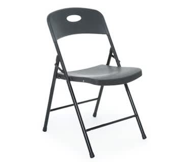 Smart Folding Plastic Chair | Black Shell Black Frame