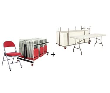 Mogo Deluxe Folding Furniture Bundle | Folding Tables & Deluxe Folding Chairs