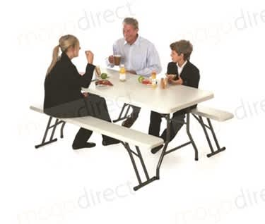 Mogo Folding Trestle Table and Lightweight Bench Set