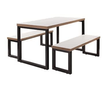 Viggo Table and Bench Set | Raw Steel Frame & White Top