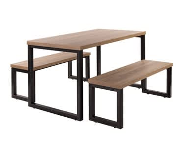 Viggo Table and Bench Set | Raw Steel Frame & Oak Top