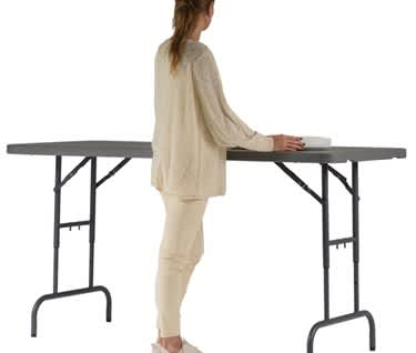 Plastic Folding Table Height Adjustable | 6ft x 2ft 6in (1830 x 760mm)  | New Zown Classic WORKTOP