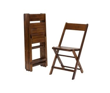 Julietta Rustic Wooden Folding Chair - Distressed Oak Finish