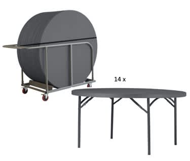 Round Plastic Folding Table and Trolley Bundle | 5ft (1530mm)| Planet150 New Zown Classic