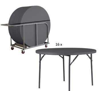 Round Plastic Folding Table and Trolley Bundle | 4ft (1220mm)| Planet120 New Zown Classic
