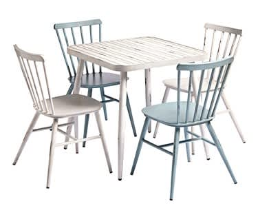 Javea Alfresco Patio and Garden Dining Bundle | WHITE Table & 4 Chairs
