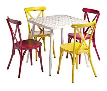 Delphi Alfresco Café, Bar & Restaurant Bundle | WHITE Table & 4 Chairs