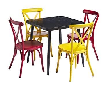 Delphi Alfresco Café, Bar & Restaurant Bundle | BLACK Table & 4 Chairs