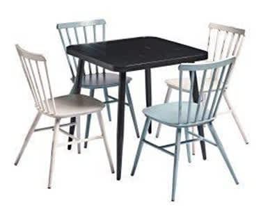 Javea Alfresco Café, Bar & Restaurant Bundle | BLACK Table & 4 Chairs