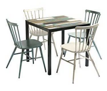 Petra Alfresco Patio and Garden Dining Bundle | Driftwood Table & 4 Chairs