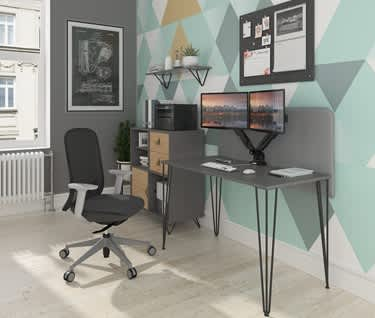 Tikal Straight Desk with Hairpin Legs