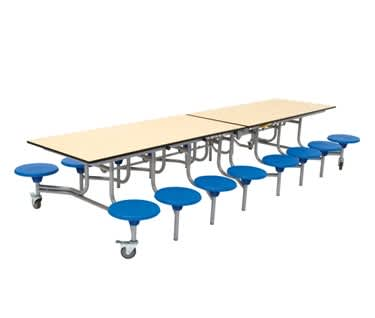 16 Seat Rectangular Mobile Folding Table Seating Unit