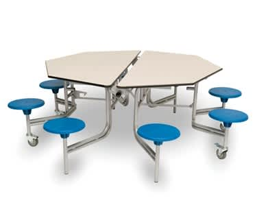 8 Seat Octagonal Mobile Folding Table Seating Unit